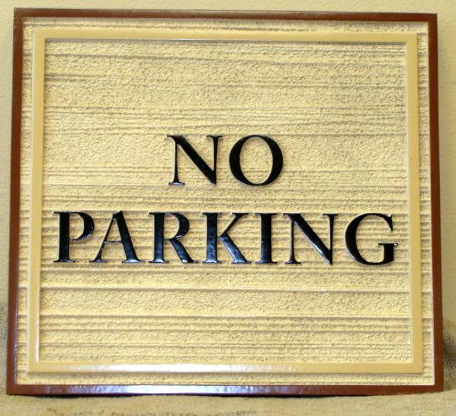 """KA20700 - Carved Wood Look HDU (Choice of Wood or HDU) """"No Parking"""" Signs"""