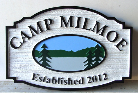 M22332 - Carved and Sandblasted HDU Camp Sign with Lake, Trees and Mountains