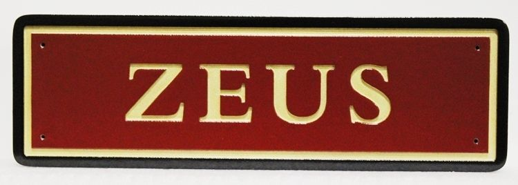 """P25415 -  Carved HDU  Stall  Sign """"Zeus"""" with Engraved Text and Borders"""