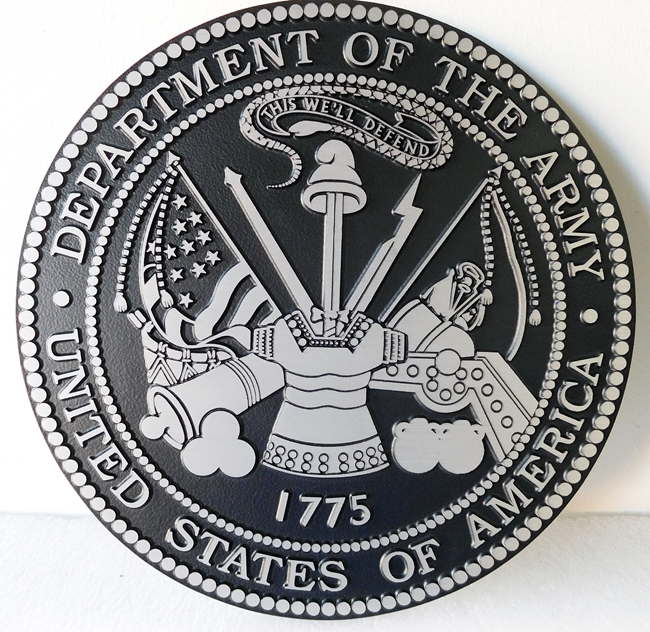 MP-1130 - Cast Plaque of the Great Seal of the US Army (USA), Solid Cast Aluminum