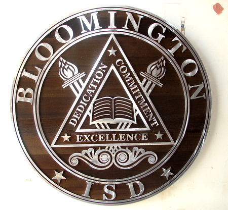 M3014 - Carved Wood Wall Plaque with Aluminum Facing, for School District Office Round Seal (Galleries 34 and 15A)