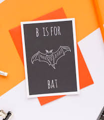 B is for Bat Greeting Card with Envelope by Darwin Designs