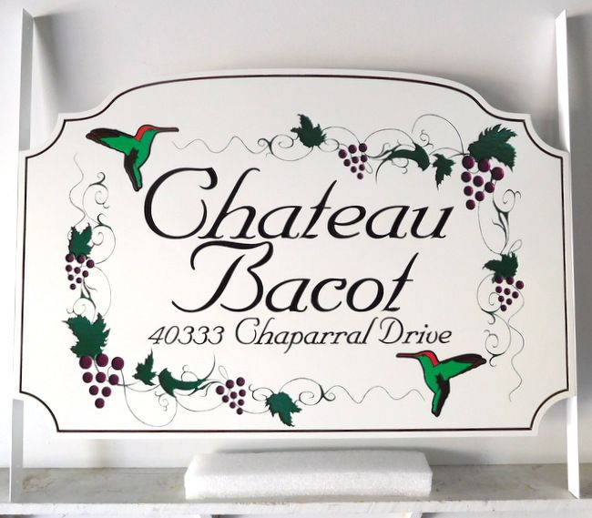 R27404 - Engraved  High-Density-Urethane (HDU) Chateau Bacot Sign, with Hummingbirds and Grape Clusters