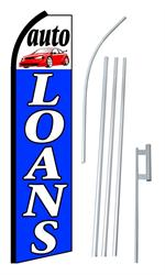 Auto Loans Swooper/Feather Flag + Pole + Ground Spike