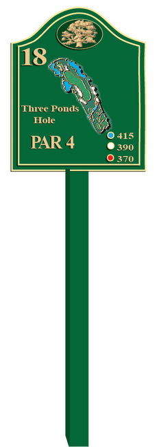 E14310 - Golf Course Tee Sign with Carved Oak and Hole Layout