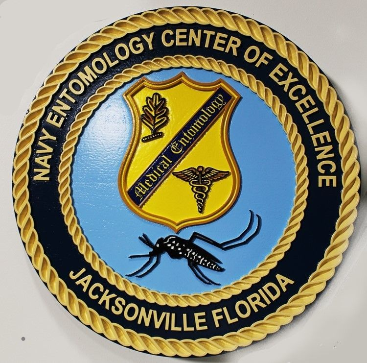 JP-2401 - Carved 2.5-D Plaque of the Crest of the Navy Entomology Center of Excellence, Jacksonville, Florida