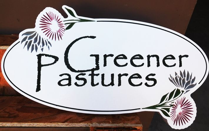 "M22036 - Attractive Property Name Sign ""Greener  Pastures"" features Engraved  Papyrus Text, Thistles  and  Border"