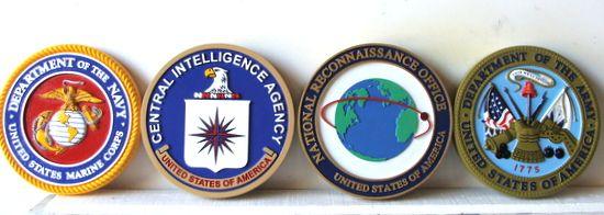 V31194 - 3-D Carved HDU USMC, CIA, NRO and USA Wall Plaques