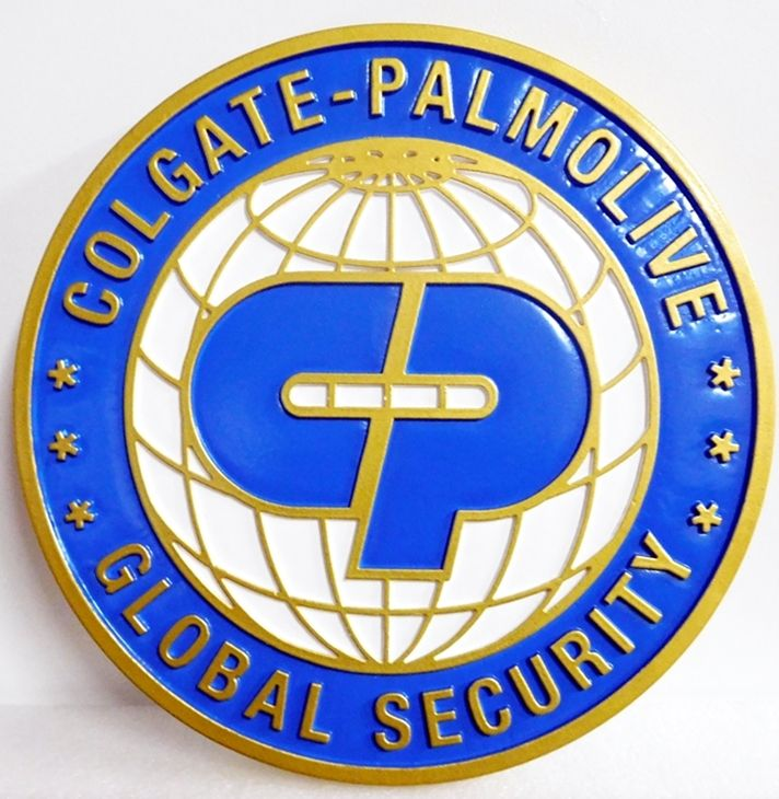 SA28727 - Carved Round High-Density-Urethane (HDU) Sign for 'Colgate-Palmolive Global Security ""