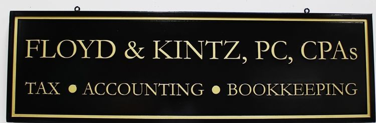 """C12125 -   Carved Brass-Plated HDU  Sign for """"Floyd and Pence - CPA's"""