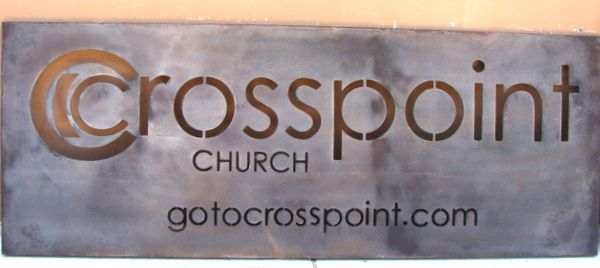 "D13122 - Antiqued  Aluminum Church Sign with Cut-out Letters, ""Cross-Point"""