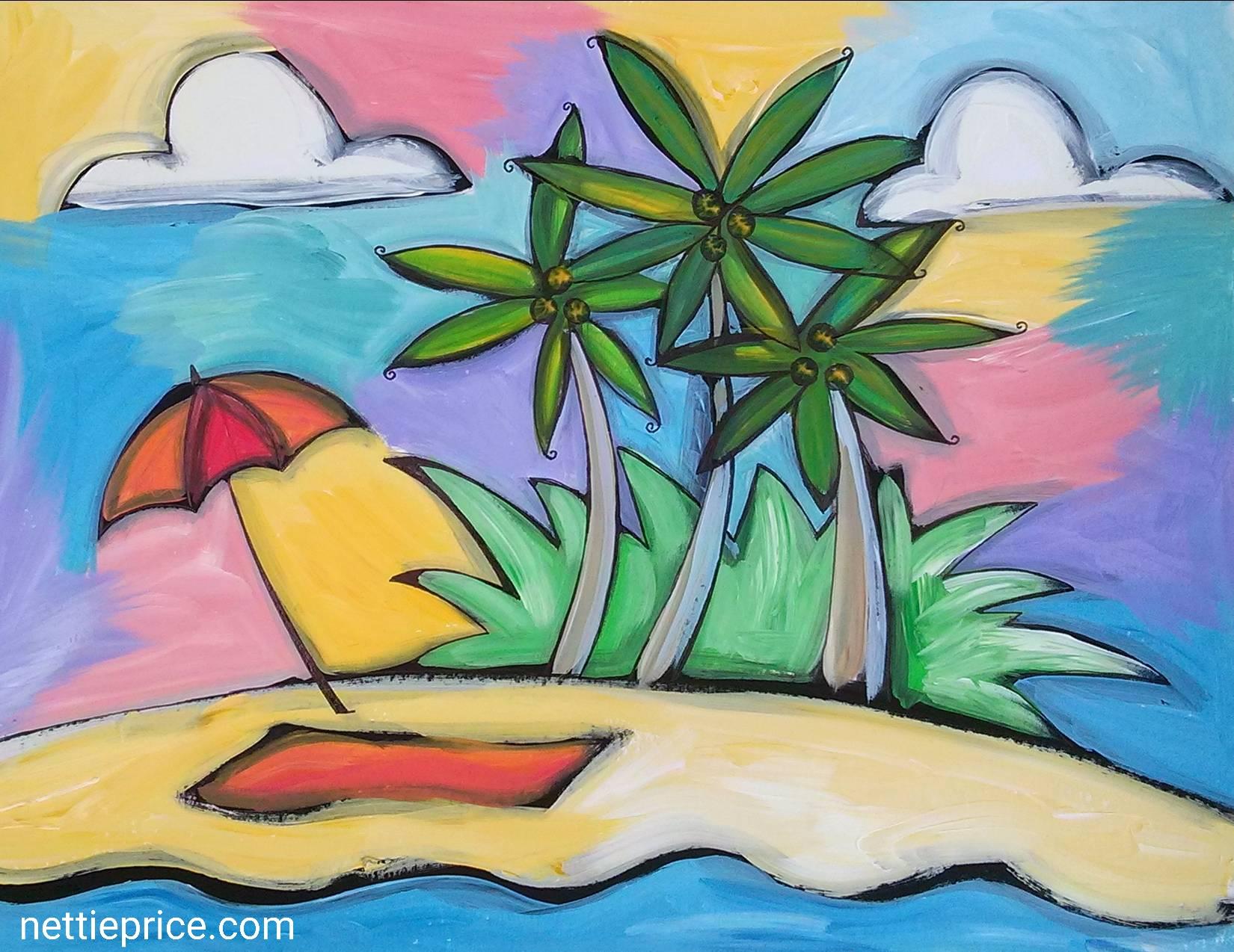 Virtual Canvas & Cocktails: Paradise Beach (Zoom)