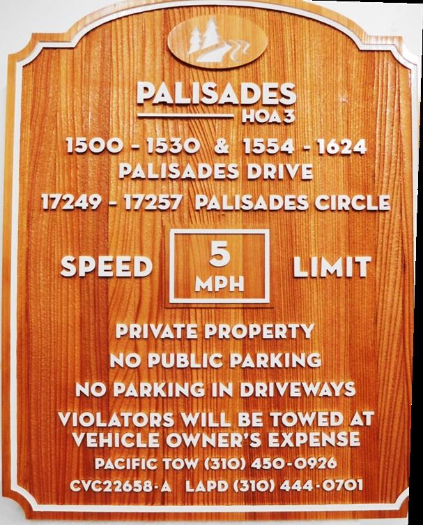KA20731 - Carved Redwood  Speed Limit and Private Property Condominium  Sign