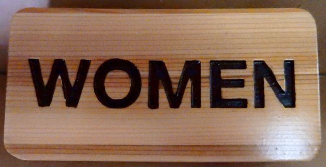 "KA20628 - Carved Cedar Wood Sign ""Women"" for Women's Room"