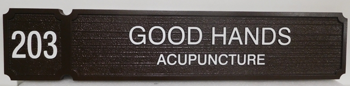 """B11255 - Carved and Sandblasted Wood Grain  Sign for the Office of """"Good Hands - Acupuncture"""""""