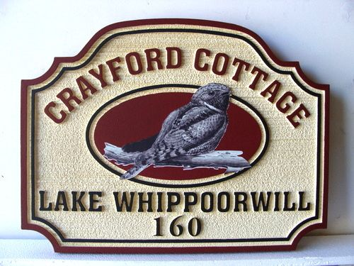M22808 - Lake Cottage Property Name and Address Sign, with Whipporwill Bird