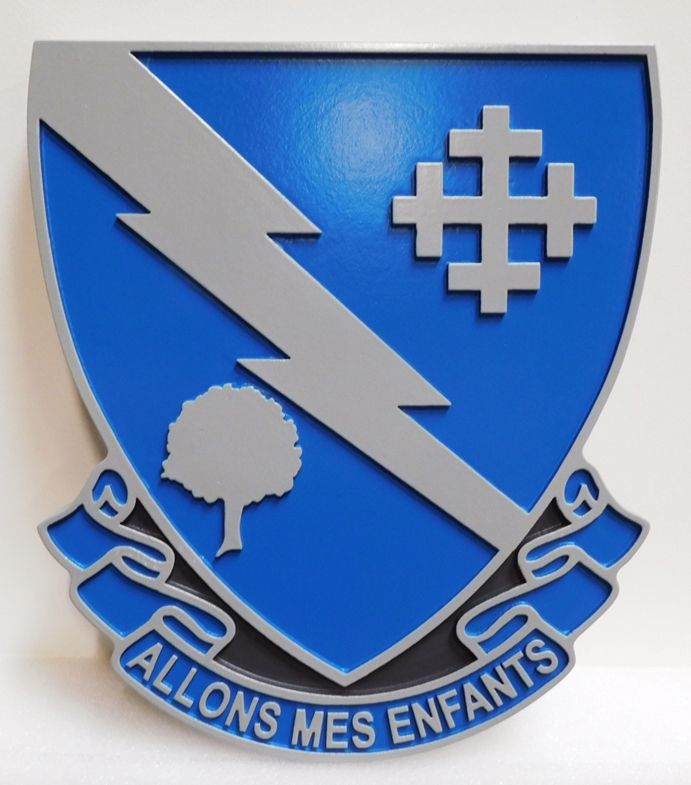 "MP-2077 - Carved Plaque of the Crest of the US Army 310th Regiment  with Motto ""Allons Mes Enfants"" (Let's Go My Children), Artist-Painted"