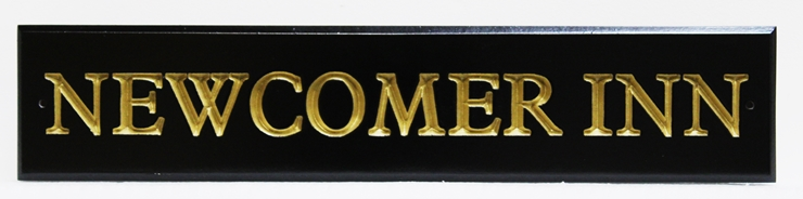 """T29148 - Engraved """"Newcomer Inn"""" Entrance Sign, with Text Gilded with 24K Gold Leaf"""