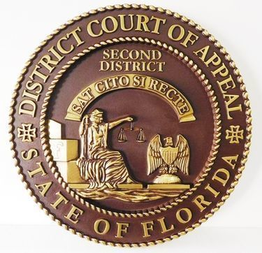 GP-1070 - Carved Plaque of the Seal of the District  Court of Appeals, State Court of Florida, Brass Plated