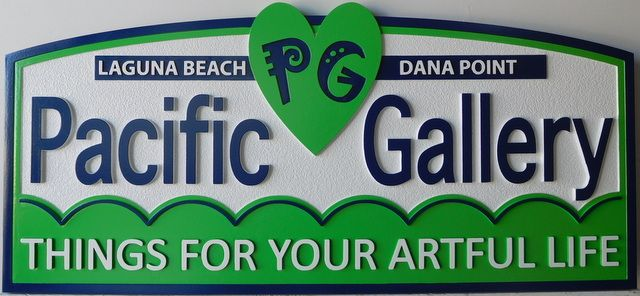 """S28016 - Carved HDU Entrance Sign  for the """"Pacific Art Gallery"""""""