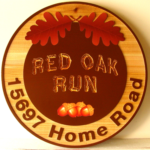 "M22116 - Round Carved Cedar Property Name and Address Sign, ""Red Oak Run"", with Acorns and Oak Leaves as Artwork"