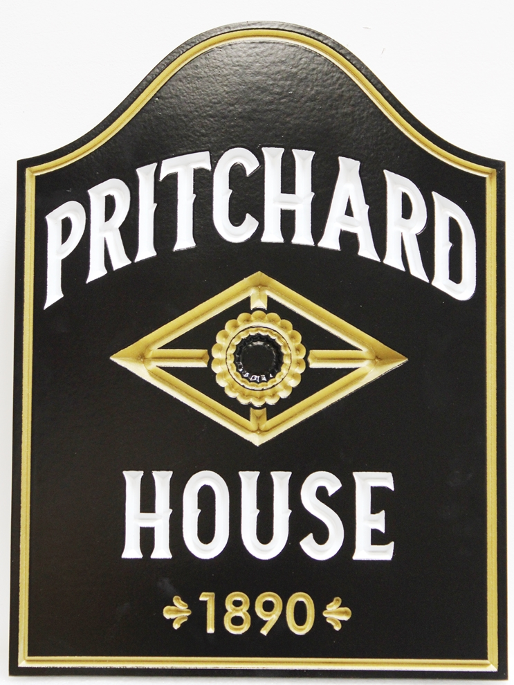 F15985 - Engraved Outside Sign for the Historical Pritchard House, with 24K Gold Leaf Gilding