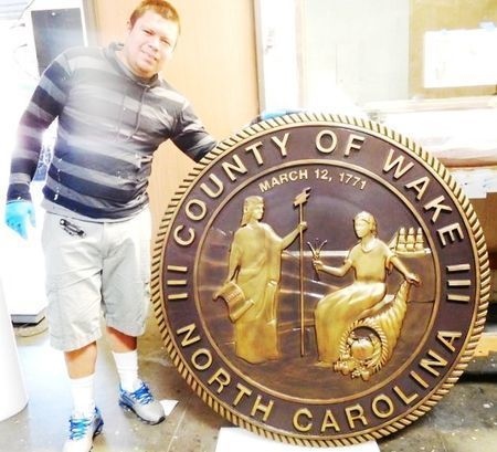 CP-1740 - Carved Plaque of the Seal of Wake  County, North Carolina, 3-D Relief,  Brass Plated