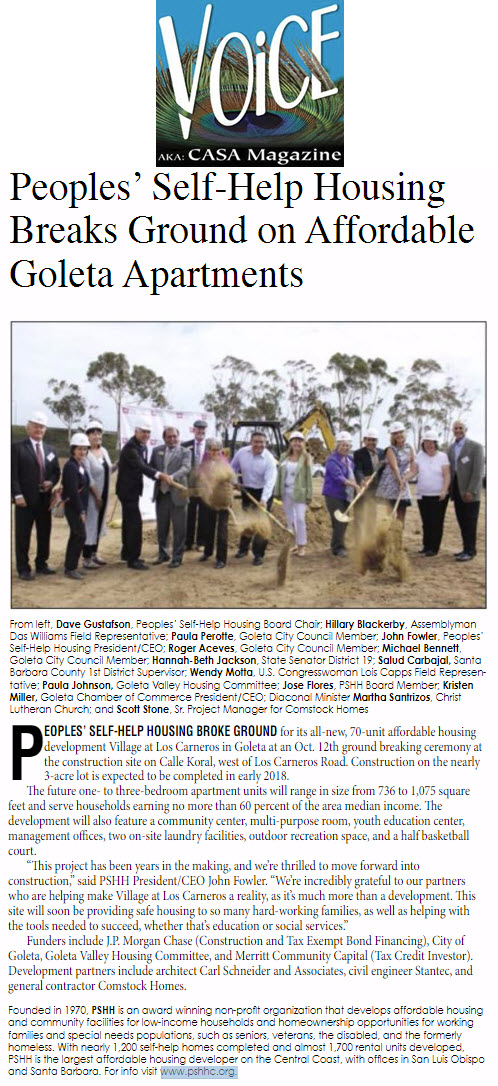 Peoples' Self-Help Housing Breaks Ground on Affordable Goleta Apartments - Voice Magazine