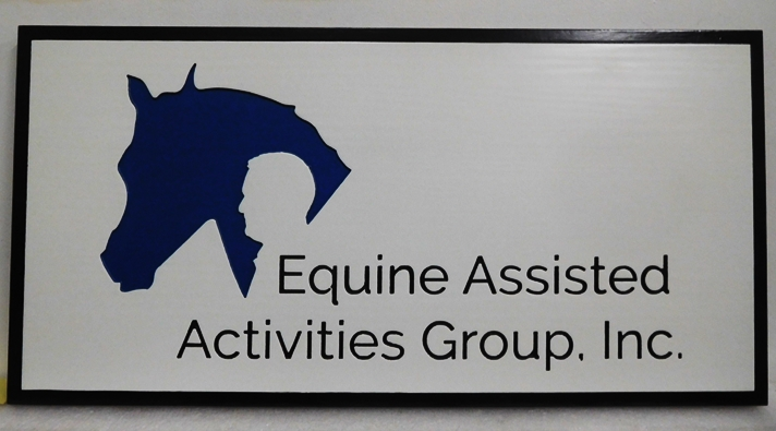 "P25203 - Engraved HDU Sign for the  ""Equine Assisted Activity Group, Inc.""  with  Silhouettes of a Horse and  a Man's Head as Artwork"