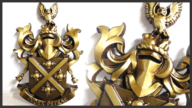 N23357 - Coat-of-Arms Wall Plaque Carved in 3-D Bas Relief, Brass