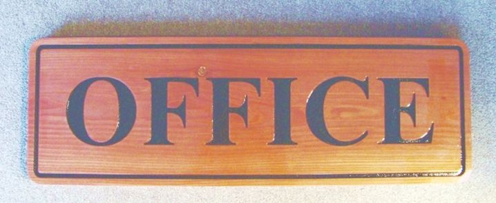 """KA20516 - Carved Cedar Wood Office Sign with Engraved Word """"Office"""""""