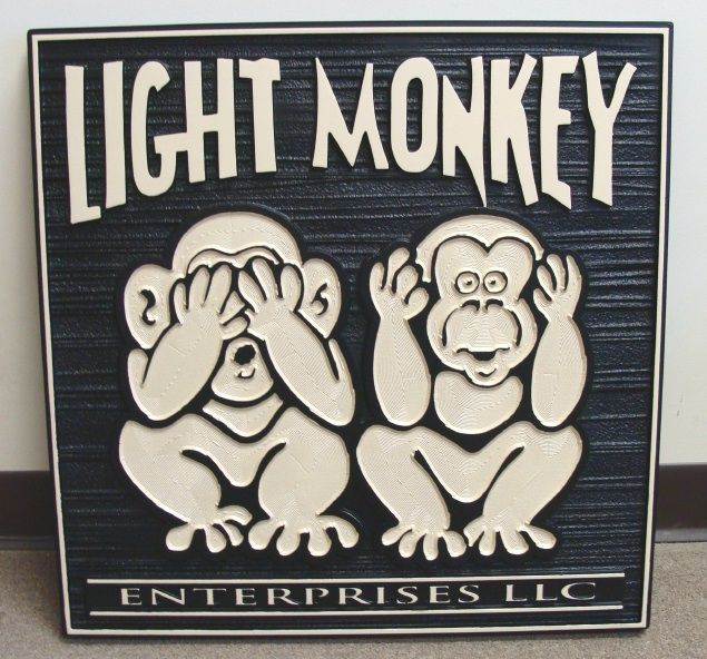 "SA28548 - Business Sign for HDU  Sign for ""Light Monkey  Enterprises, Inc."", with Two  Monkies"