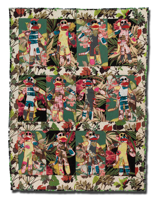 'Sock Monkey Jamboree,' made by Mary Catherine Lamb, made in Portland, Oregon, United States, dated 2007, 61.75 x 46.25 in, IQSCM 2007.043.0001