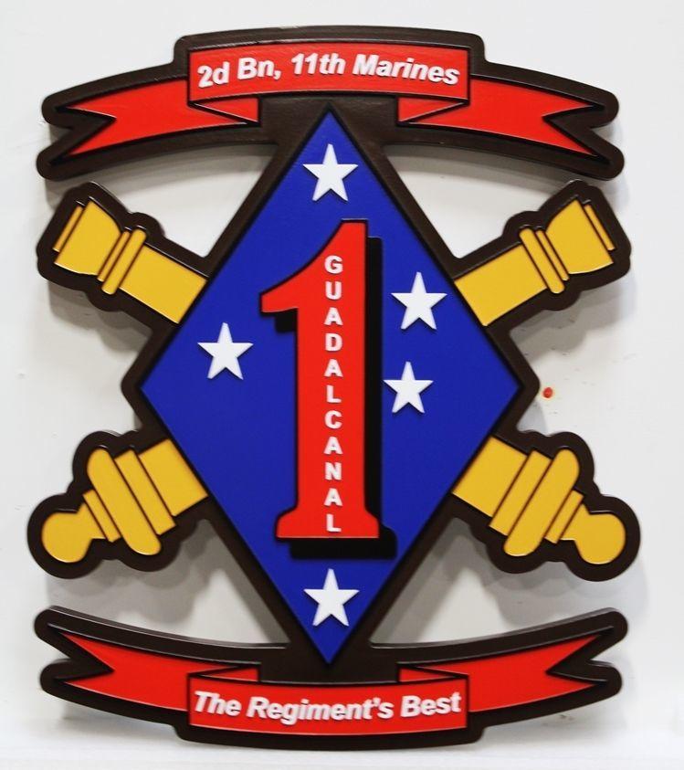KP-2041 - Carved 2.5-D HDU Crest of the 2nd Battalion, 11th Regiment, 1st Marine Division