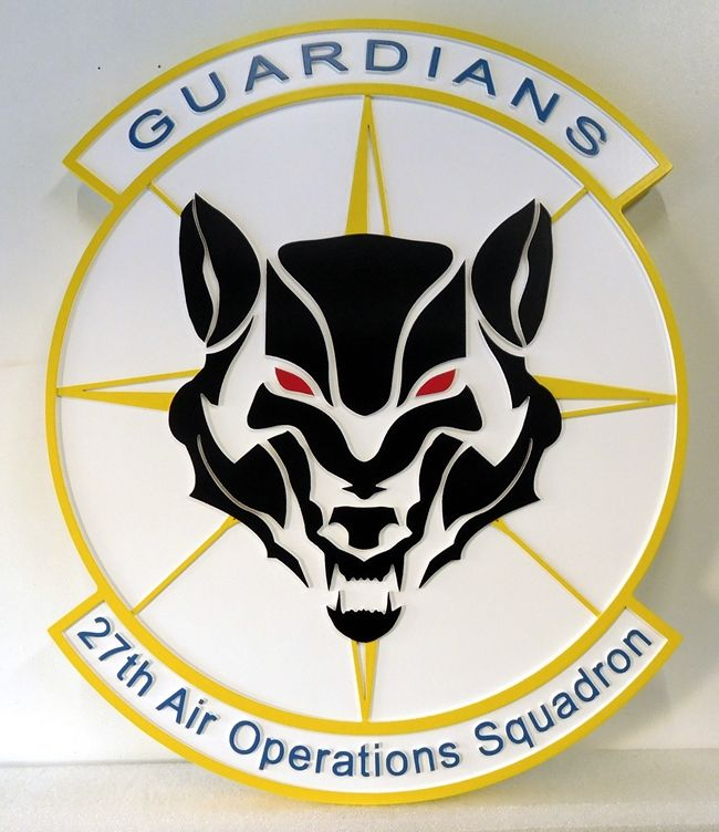 """LP-2380 - Carved Round Plaque of the Crest of the 27th Air Operations Squadron """"Guardians"""",  Artist Painted"""