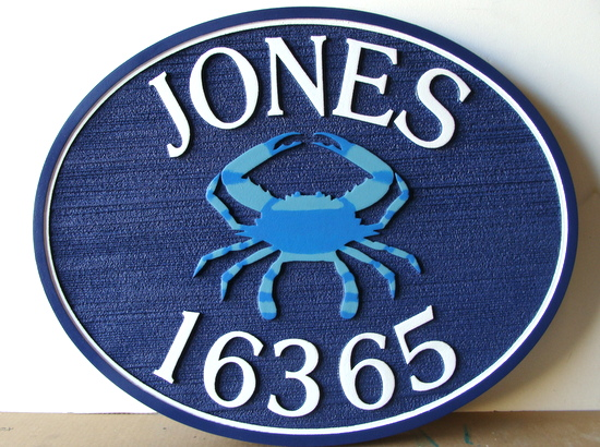 L21558 Carved And Sandblasted Beachhouse Address Number Sign With Raised Crab