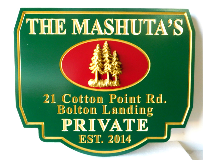 M22052 - Mountain Residence Address Sign (Ornate) with 3-D Pine Trees