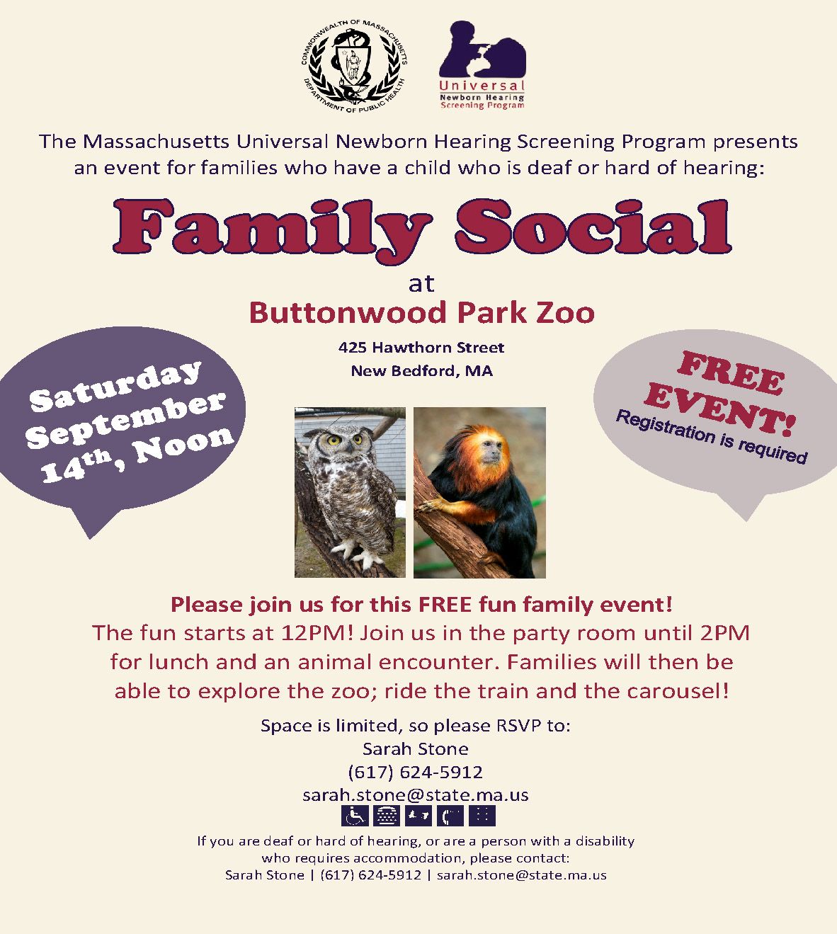 Family event at Buttonwood Park Zoo