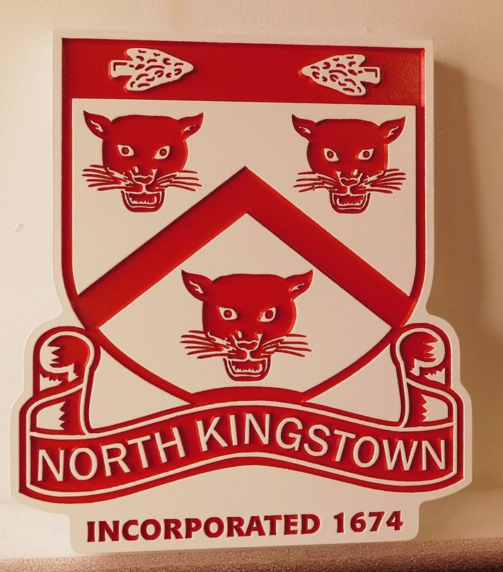 F15330 - Entrance  Sign  for North Kingstown, Rhode Island,  2.5-D Engraved HDU, with Cougar Faces and Shield as Artwork