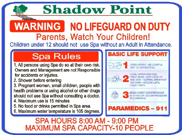 GB16230 - Carved HDU Spa Sign Listing Rules and Instructions for Administering Basic Life Support, for Shadow Point Apartments