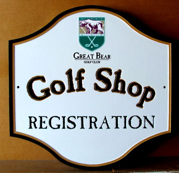 E14217  – Carved HDU Golf Shop Registration Sign for Great Bear Golf Club, with Logo