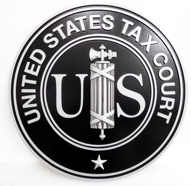 FP-1393 - Carved Plaque of the Seal  of the US Tax Court, Painted with Metallic Silver and Black Paint
