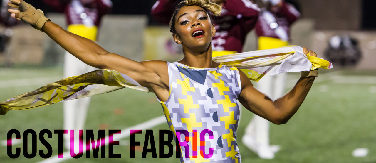 Digitally printed costume fabric for marching arts