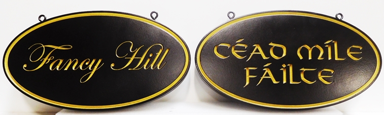 I18176 - Engraved Elliptical Property Name Signs, with Gold Script and Celtic Text