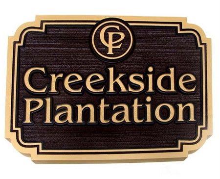 """I18166 - Estate Carved Wood Entrance Sign, """"Creekside Plantation"""""""