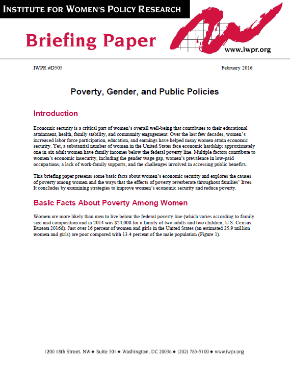 Briefing Paper on Poverty, Gender, and Public Policies