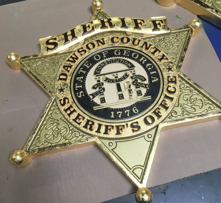 M7332 - Carved 3D Gold-Leaf Gilded Wall Plaque of the Badge of the Dawson County Sheriff's Officewith the Seal of  Georgia