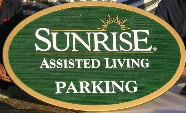 M5122 -  Carved Wood Look HDU Parking Sign for Sunrise Assisted Living with Carved Sunrise