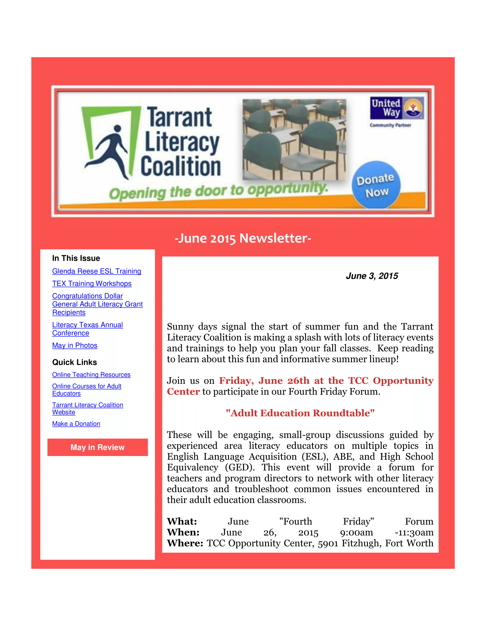 Tarrant literacy coalition newsletter archives 1betcityfo Images