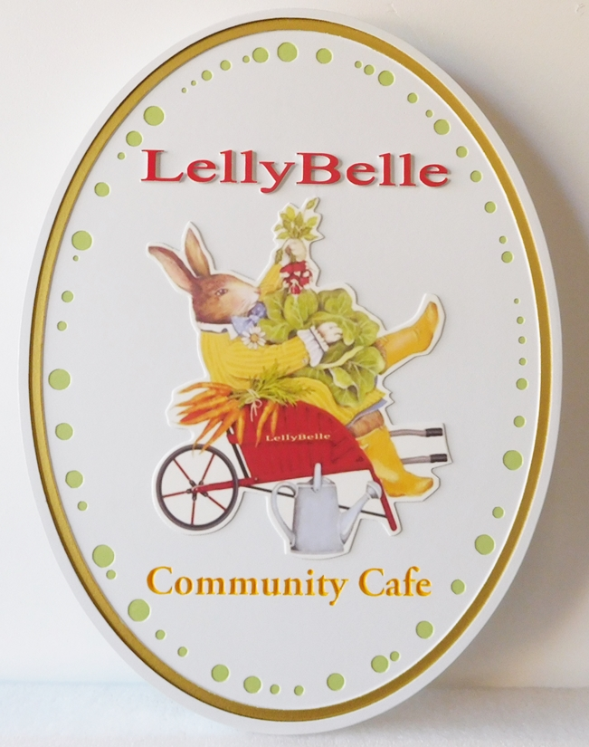 Q25620 - Carved, High-Density Urethane Sign for a Community Cafe Showing Rabbit and Garden Vegetables.
